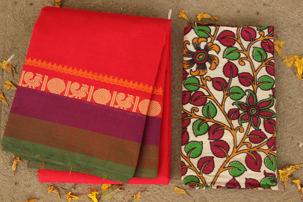 Sindhoor Red Cotton Saree with contrast Woven Border. TCB-KC11-KN1-The Chalk Boutique