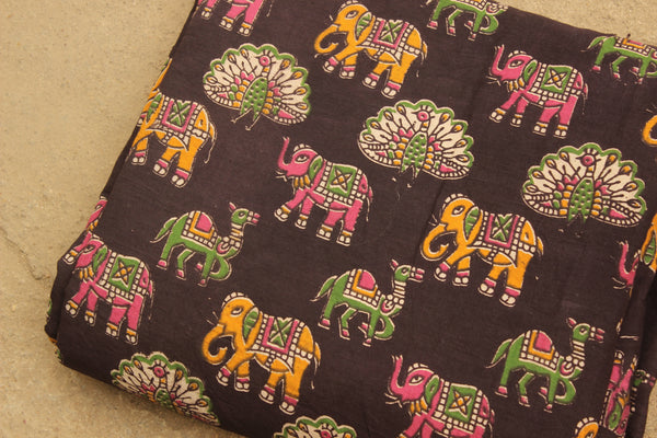 Elephant, Camel & Peacock Hand Block Printed Cotton Kalamkari  Fabric. TCB-KAL16-P2
