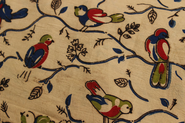 Beige Birds Hand Block Printed Cotton Kalamkari  Fabric. TCB-KAL7-P2