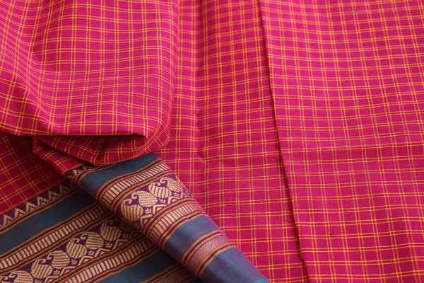 Pink Checked Cotton Saree with contrast Woven Border. TCB-KC12-KN1-The Chalk Boutique