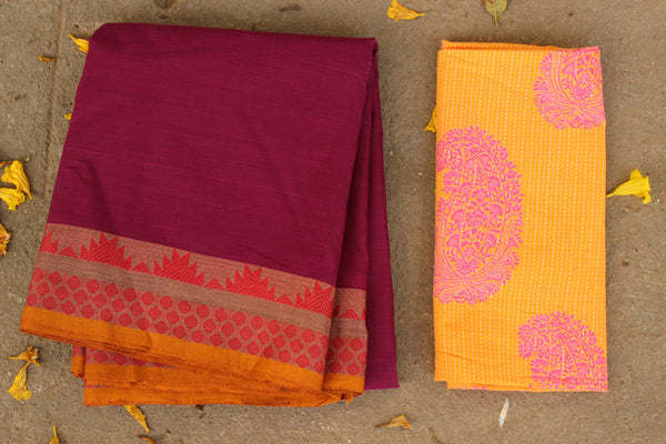 Wine Color Cotton Saree with contrast Woven Border. TCB-KC14-KN1-The Chalk Boutique