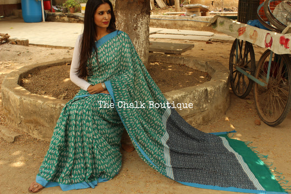 'Baby Owls'  handblock printed handloom cotton saree.TCB-PC13-BS