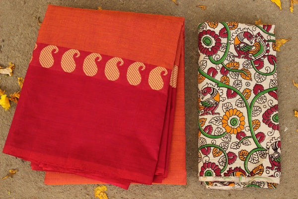 Orange Cotton Saree with contrast Woven Border. TCB-KC16-KN1-The Chalk Boutique