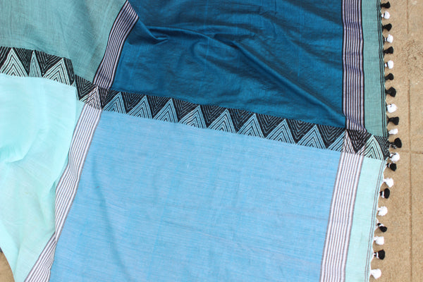 Khadi cotton saree with temple border. NF-MAD-C3