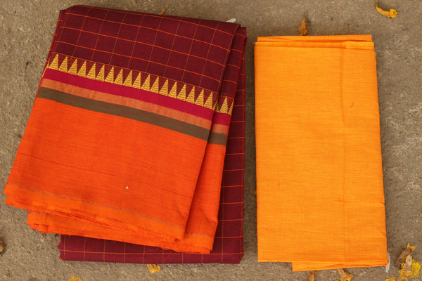 Maroon Checked Cotton Saree with contrast Woven Border. TCB-KC17-KN1-The Chalk Boutique