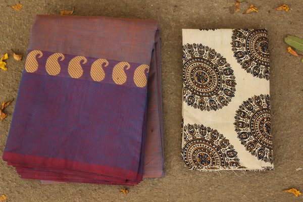 Dhoop Chav Purple Cotton Saree with contrast Woven Border. TCB-KC18-KN1-The Chalk Boutique