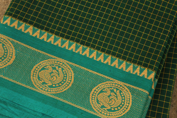 Green Checked Cotton Saree with contrast Woven Border. TCB-KC20-KN1-The Chalk Boutique