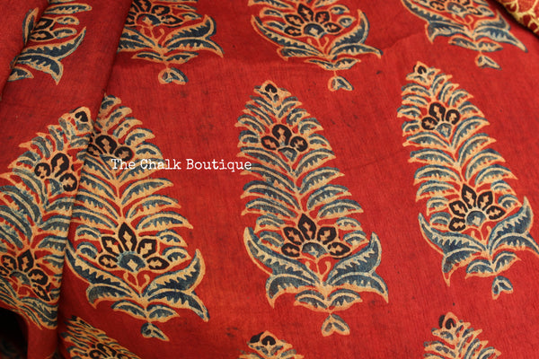 Madder vegetable dyed Ajrakh Silk saree with zari border. KCH-SLK2-C9