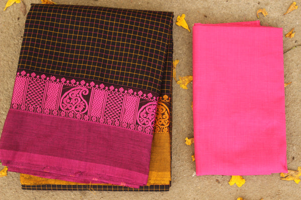 Deep Brown Checked Cotton Saree with contrast Woven Border. TCB-KC21-KN1-The Chalk Boutique
