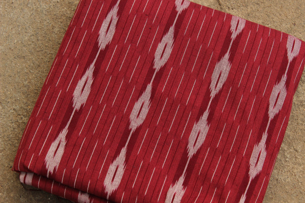 Red Colour Ikat Cotton Fabric TCB-IKT3-P2