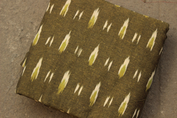 Olive Green Colour Ikat Cotton Fabric TCB-IKT2-P2