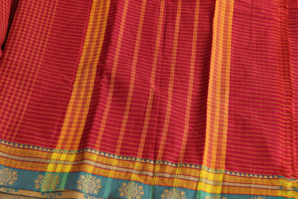 Reddish Pink Checked Cotton Saree with contrast Woven Border. TCB-KC22-KN1-The Chalk Boutique