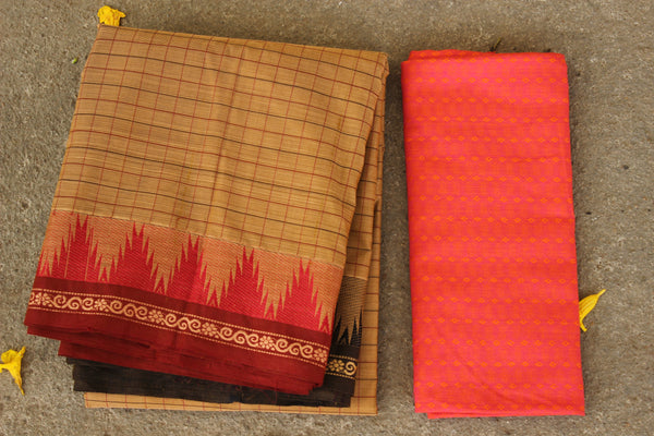 Khakhi Checked Cotton Saree with contrast Woven Border. TCB-KC25-KN1-The Chalk Boutique