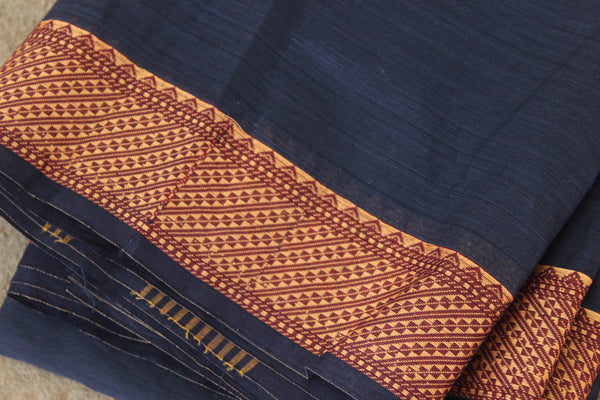 Navy Blue Cotton Saree with contrast Woven Border. TCB-KC27-KN1-The Chalk Boutique