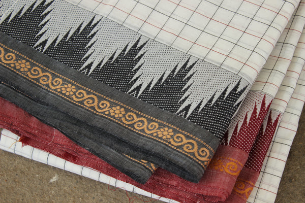 White Checked Cotton Saree with contrast Woven Border. TCB-KC28-KN1-The Chalk Boutique
