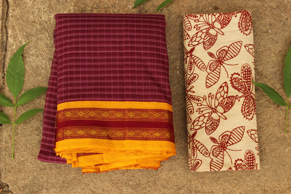 Maharashtra cotton checked saree with contrast blouse fabric. TCB-MH1-P13