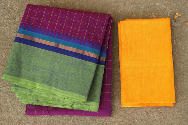 Jamuni Checked Cotton Saree with contrast Woven Border. TCB-KC29-KN1-The Chalk Boutique