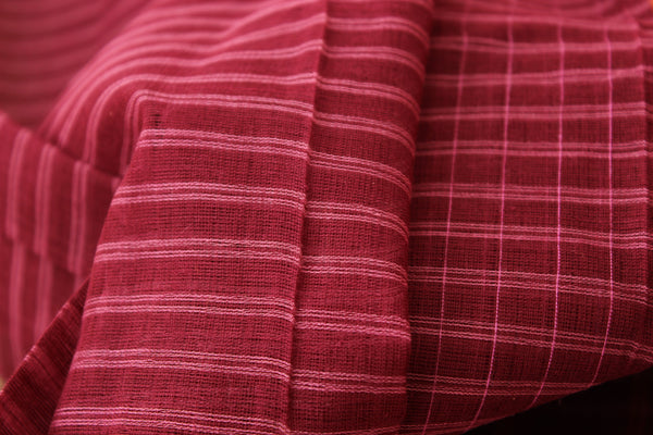 Maharashtra cotton checked saree with contrast blouse fabric. TCB-MH1-P13-The Chalk Boutique