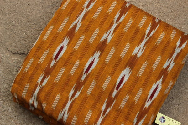 Deep Mustard Colour Ikat Cotton Fabric TCB-IKT6-P2
