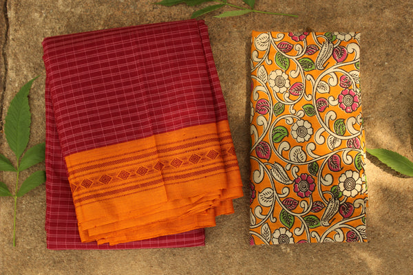 Maharashtra cotton checked saree with contrast blouse fabric. TCB-MH2-P13