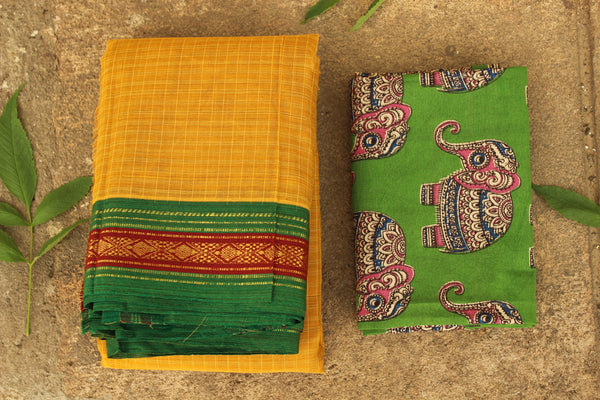 Maharashtra cotton checked saree with contrast blouse fabric. TCB-MH3-P13