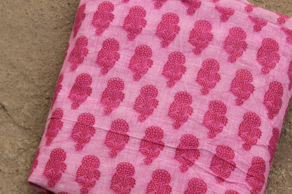 Pink Buta Dabu Hand Block Printed Fabric In Cotton . TCB-BABP-1