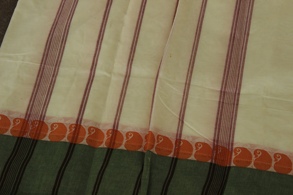 White Cotton Saree with contrast Woven Border. TCB-KC34-KN1-The Chalk Boutique