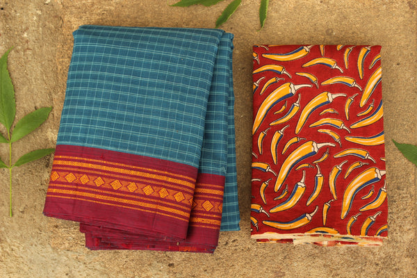 Maharashtra cotton checked saree with contrast blouse fabric. TCB-MH4-P13