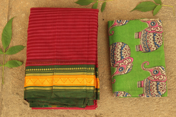 Maharashtra cotton saree with contrast blouse fabric. TCB-MH5-P13