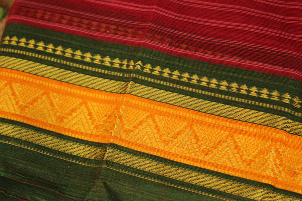 Maharashtra cotton saree with contrast blouse fabric. TCB-MH5-P13-The Chalk Boutique