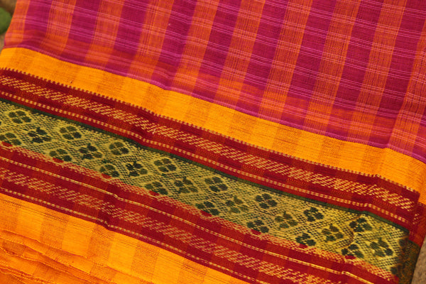 Maharashtra checked cotton saree with contrast blouse fabric. TCB-MH6-P13
