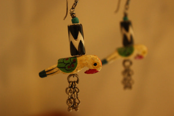 Parrot Ceramic Antique finish Earrings. B-EA-052