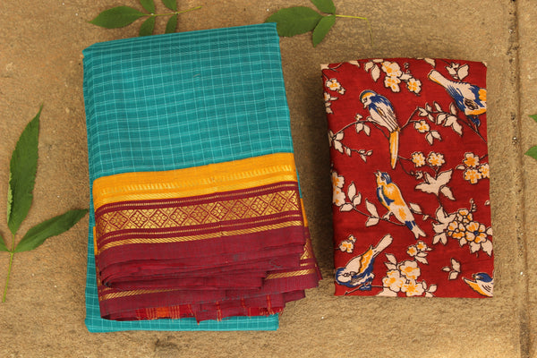 Maharashtra checked cotton saree with contrast blouse fabric. TCB-MH7-P13