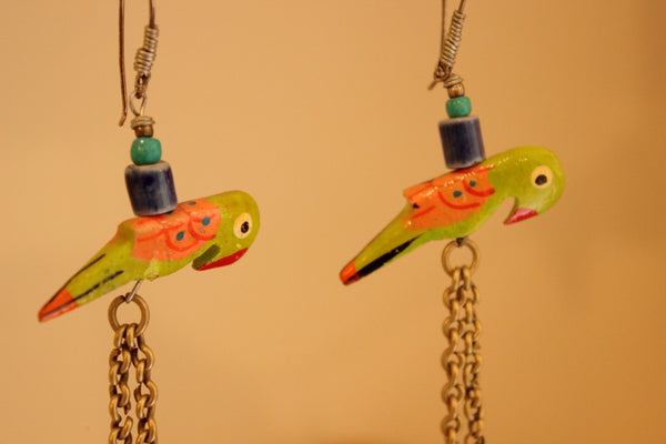 Parrot Ceramic Antique finish Earrings. B-EA-051