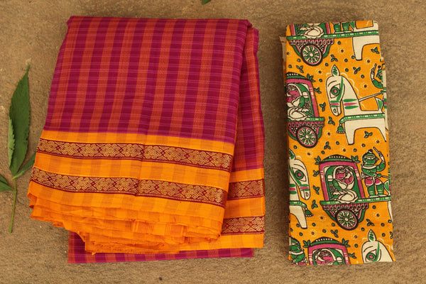 Maharashtra checked cotton saree with contrast blouse fabric. TCB-MH8-P13