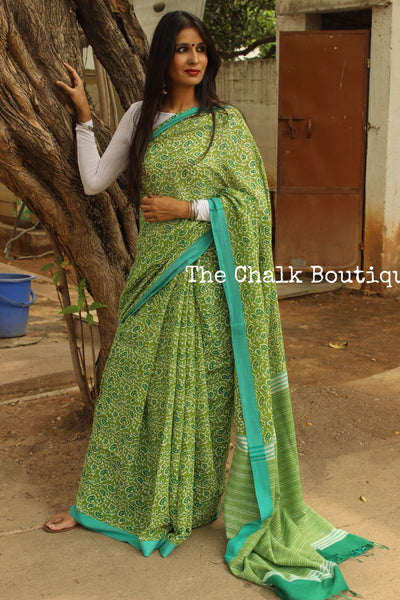 'Green popsicle'. Handblock printed handloom cotton saree.TCB-PC18-BS