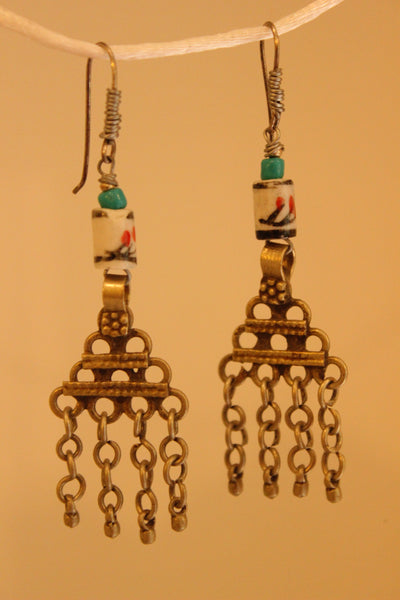 Ceramic Antique finish Earrings. B-EA-054