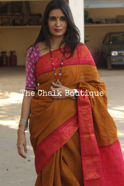 Rust Brown checked Zari Sungudi Cotton Saree with Zari Border. TCB-ZCH7-P24-The Chalk Boutique