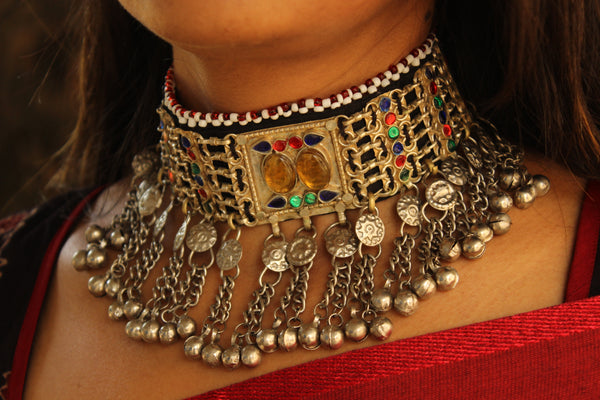 Adjustable Tie back Chunky Antique Afghani choker in German silver. CN-APRILAN2B