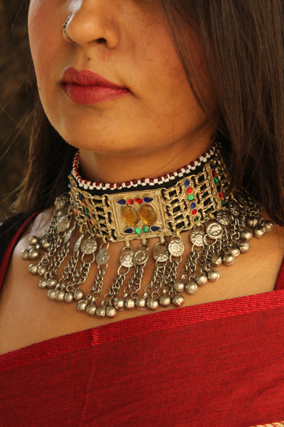 Adjustable Tie back Chunky Antique Afghani choker in German silver.