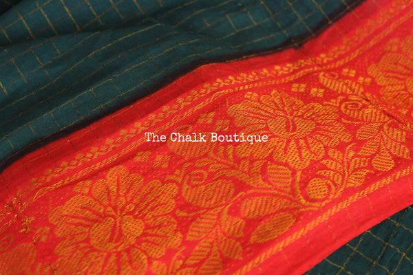 Green checked Zari Sungudi Cotton Saree with Zari Border. TCB-ZCH8-P24-The Chalk Boutique