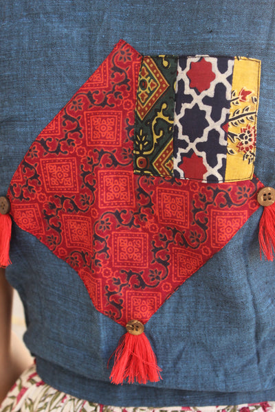 Patchwork Shirt Blouse in deep blue.