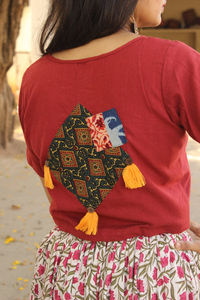 Patchwork Shirt Blouse in maroon. CC-BL5-C8