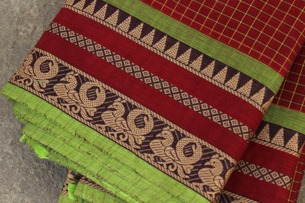Maroon Checked Cotton Saree with contrast Woven Border. TCB-KC35-KN1-The Chalk Boutique