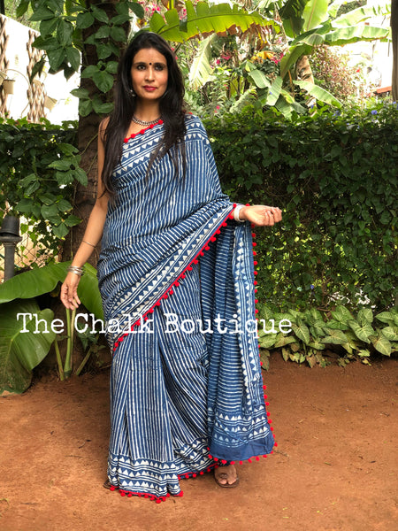 | By The pool | Indigo hand block printed mulmul cotton saree with pom pom border.