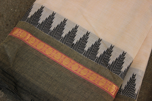 Light Coffee Cotton Saree with contrast Woven Border. TCB-KC38-KN1-The Chalk Boutique