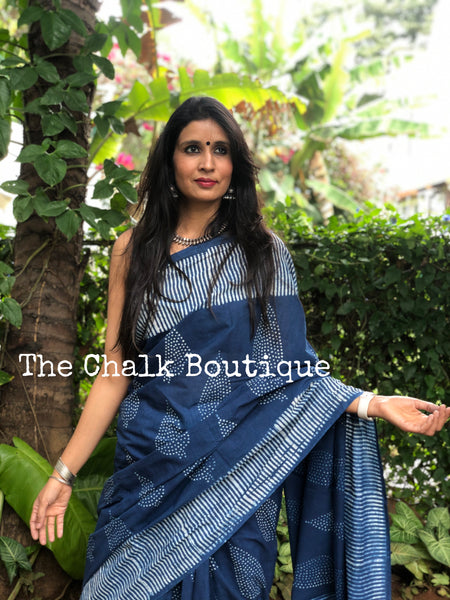 | Hello Happiness | Indigo hand block printed mulmul cotton saree.
