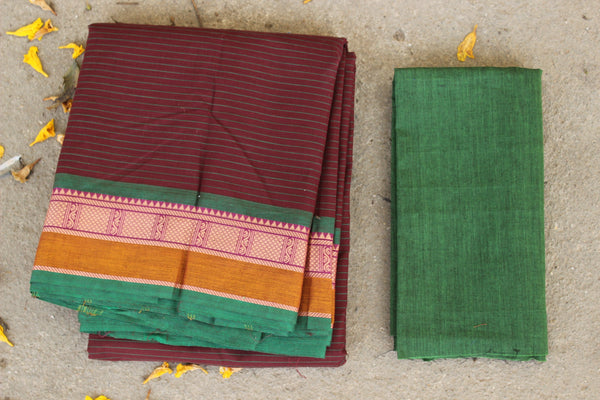 Maroon Striped Cotton Saree with contrast Woven Border. TCB-KC39-KN1-The Chalk Boutique