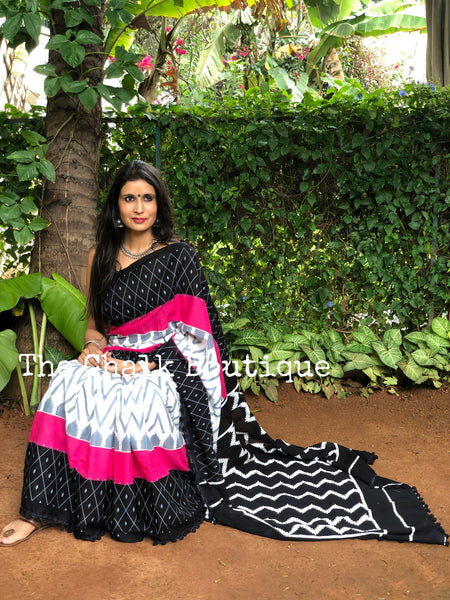| Roohafza | Black and Pink printed cotton saree with black border.