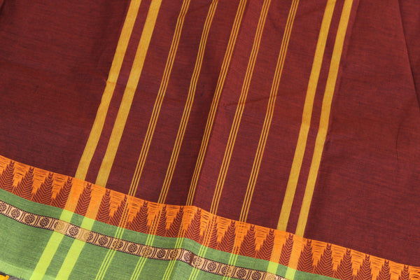 Maroon Cotton Saree with contrast Woven Border. TCB-KC41-KN1-The Chalk Boutique